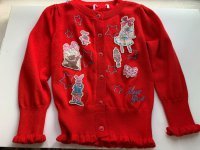 #12449 size: 2-3/3-4/4-5/5-6/6-7/7-8/9-10yrs, red hosiery jacket with embroidery