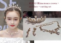 #14045 Golden rhinestones and pearl crown + flower necklace + ear rings set