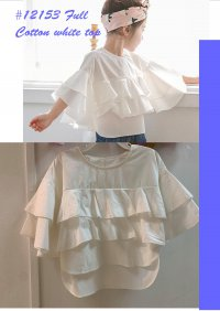 #12153 Size: 3-4/4-5/5-6/6-7/7-8/8-9yrs Off white trumpet sleeve top