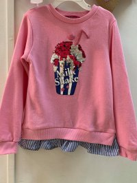 #11601 size: 5/7 yrs Reversible Pink Long Sleeve Top