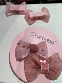 #10612 Pink color bow hair clip 2 piece set
