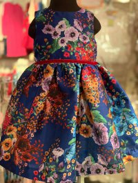 #12324 Size:9/12/24M Dark blue color flower pattern party dress