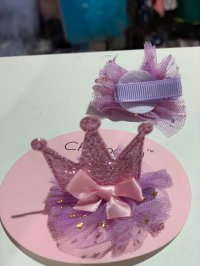 #10613 Purple color crown mesh hair clip