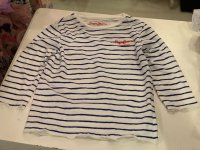 #12117 size:8/10 yrs Full cotton white color stripe pattern top