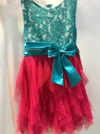 #9266 Size 14/16Y Turquoise lace with fuchsia dress