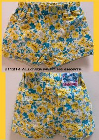 #11214 size : 5-6/7-8yrs Allover printing yellow shorts 2 pockets on front & back.