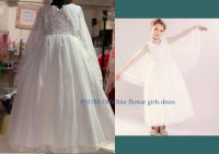 #10180 size :2-3/4-5/6-7/7-8/8-9/10-11 yrs offwhite color flower girls long dress