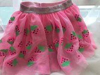 #6333 size : 1yrs pink mesh strawberry emb skirt with inner skirt