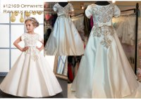 #12169 size : 2-3/4-5/6-7/8-9/10-11/12-13yrs Girls offwhite raw silk flowers girls dress- front & back emb