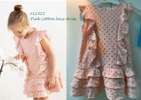 #12323 Size:4/6/12yrs Full cotton light pink color lace dress