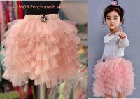 #11609 size : 1-2/3-4/5-6yrs Peach color mesh skirt