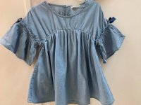 #11235 Size:7-8/8-9/9-10 yrs Full cotton powder blue color Top