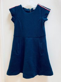 #11351 size: size: 2-3/3-4/4-5/5-6/7-8/12 yrs 70% Cotton 30% Polyester Navy Dress with 2 pockets