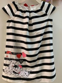 #11078 Size: 2/3/4 yrs Full Cotton Striped Dress with Dalmatian pattern