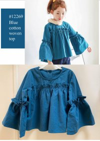 #12269 size :4-5/5-6/6-7/7-8 yrs , Full cotton blue color woven top