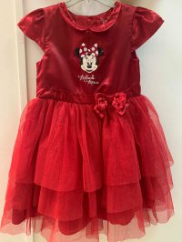 #12966 Size: 3-4/4-5/6-7/7-8/8-9yrs Red color Minnie pattern party dress with 4 layer mesh