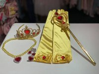 #13080 Princess stick + crown + earring, rings, necklace +gloves 6pcs set