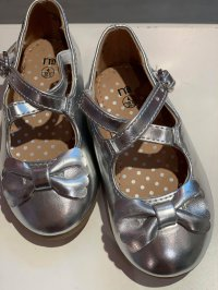 #11938 size :1-9 yrs Girls silver color bow pvc shoes