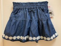 #11231 Size:2-3/7-8/9-10yrs Full cotton dark blue color flower pattern pant skirt