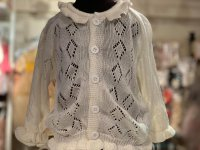 #10996 size: 1-2/2-3/4-5 100% cotton White jacquard Knitted Cardigan