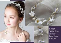 #10959 White color flowers hair band +ear rings set