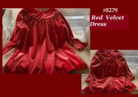 #8274 Sizes 1-2/3-4/4-5/5-6yrs Red velvet dress
