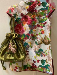 #11289 size 1-2/3-4/4-5/5-6/7-8/8-9/10-11yrs/mama Hemp cotton cloth girl rice white cheongsam