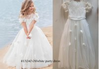 #13240 Size: 2-3/4-5/6-7/10-11/12-13yrs Off-white color party dress with 4 layer mesh
