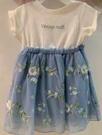 #12655 size:2/3/6/12-14yrs White and blue embroidered flower pattern mesh dress
