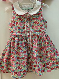 #10975 size: 2-3/3-4/4-5/5-6/6-7/7-8/9-10/11-12yrs Full cotton red color floral printing dress