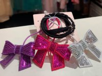 #11817 Dark pink /purple /sliver color sequin bow elastic band