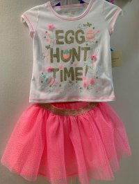 #10665 size6/7/8yrs rabbit top+ skirt 2pcs set