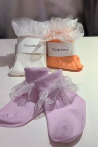 #12557 size: 2-3/4-6/7-9yrs purple/ peach/offwhite mesh socks