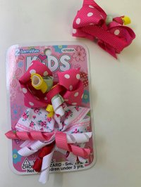 #13034 White/ Dark powder pink color bow 2 hair clip