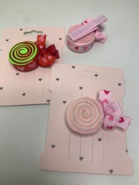 #12905 Pink/ red lollipop pattern hair clip