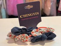 #11869 Floral Bow + Denim Blue Hair Elastic Band