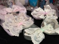 #8655 Rosette Lace hair clip(pink/green/purple)