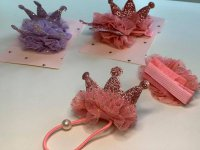 #13260 Pink/Purple Crown Hair clip + hair band 2pcs