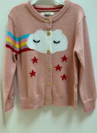 #11310 size: 3-4/4-5/5-6/7-8/9-10 yrs Light Pink Rainbow and Star Cardigan