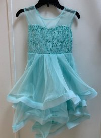 #11265 Size for 6/7/8/10/12/14 yrs Green lake color flower pattern party dress with 2 layer mesh