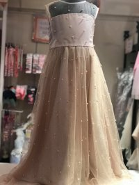 #9322 size: 4/5/12 yrs Light pink-gold glitter powder with pearl long party dress