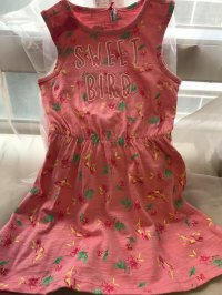 #9118 size2/3/4/5yrs 100% cotton pink allover print dress