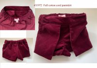#11972 size: 2/3-4/4-5/5-6/7-8 yrs Full Cotton Wine Cord Skirt