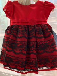 #7176 size:6-9M Red x black lace party dress
