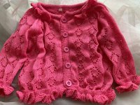 #10987 size: 1-2/2-3/4-5/6-7/7-8/8-9 yrs Fuchsia Knitted Cardigan