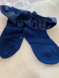 #11168 size:M/L(4-6/6-8 yrs) Blue ribbon bow short socks