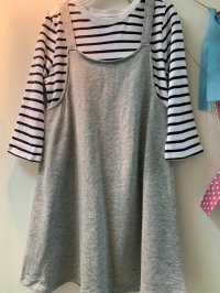 #13220 size :4/5-6/7-8/10-12/14yrs Grey color white and blue stripes dress