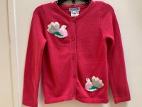 #11285 size: 3/4yrs Pink Peacock Long Sleeve Sweater
