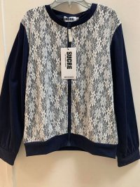 #12976 Size: 6-7/8-9yrs 35% cotton, dark blue color lace flower pattern cardigan