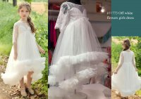 #11773 size :4-5/6-7/8-9/10-11yrs Off white color flowers girls dress